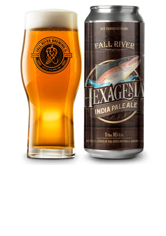 Fall River Brewing Co. Hexagenia IPA glass and can